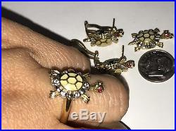 14k Solid gold Turtle Luck manmad diamond Earring Pendant ring 7 4 5 6 8 9 10