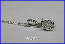 14k White Gold Round Diamond Halo Earrings and Diamond Halo Pendant With Chain
