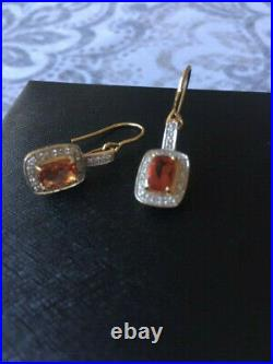 14k Yellow Gold Andesine And Diamond Dangle Earrings/pendant