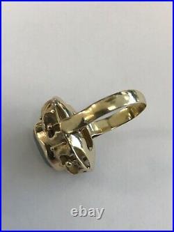 14k Yellow Gold Black Stone Earrings, Pendant & Ring Set, Size 5, 17.3 Grams
