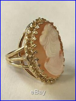 14k Yellow Gold Cameo Filigree Ring Earring Pendant/Brooch Set Size8, 23.9 Grams