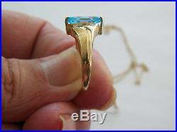 14k Yellow Gold Chain 10k Blue Topaz Ring/pendant/earring Set