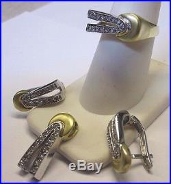 14k YellowithWhite Gold Diamond Ring, Earring & Pendant set