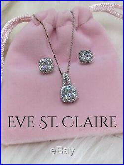 14k white gold diamond necklace halo 2 CT pendant earrings set stud D VVS1 chain