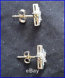 14kt Gold & Genuine Diamonds STAR Pendant, Ring, post Earrings Set Excellent