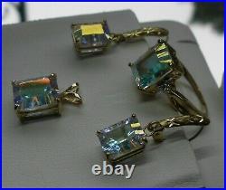 14kt Yellow Gold Size 7 Ring Earrings Pendant 14kt Mystic Stone Set 7.8 Grams