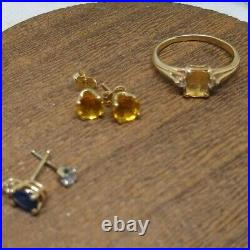14kt yellow gold earrings, ring, singles, crystal point pendants jewelry lot