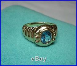 15CT Blue Topaz Earrings Bracelet Ring Pendant 14K Gold Parure Set Retro Wedding
