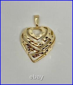 $1835 Maui Divers 14K Yellow Gold Aloha Heart SET Pendant, Ring and Earrings