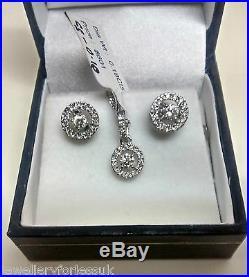 18Carat White Gold Diamond Halo Style Pendant & Chain + Matching Earrings 0.55