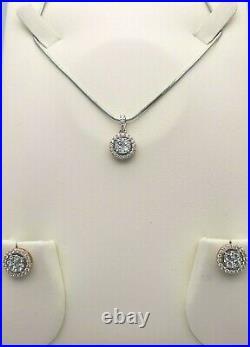 18Carat White & Rose Gold Halo Pendant Set 1.47 cts Pendant, Earrings & Chain