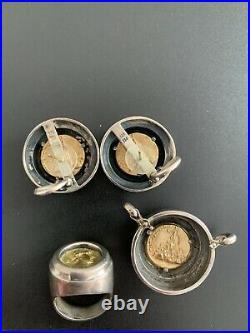 18K GOLD Lagos Caviar Sterling Silver Ring, Clip On Earrings, and Pendant Set