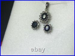 18ct White Gold, Sapphire & Diamond fine jewellery set Ring, Pendant & Earrings