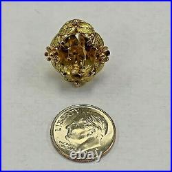 18k Gold & Citrine 3 Piece Set Pendant, Earrings and 14k Gold Cintrine Ring