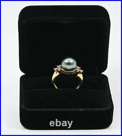 18k Gold Tahitian Pearl Diamonds Ring Pendant & Earring Set RG0007
