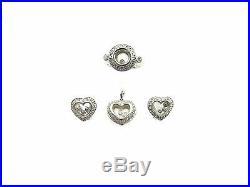 18k White Gold Floating Diamond Heart Earrings Pendant And Heart Ring 2.00ct