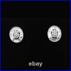 18k White Gold GP Wedding Ring, Pendant, Earrings Oval Cluster Diamond Bridal Set