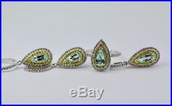 18k White Gold Pear Paraiba Tourmaline Double Halo Diamond Earring Ring Pendant