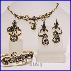 18k yellow gold jewelry Set ring earrings pendant bracelet diamonds and 2 gems