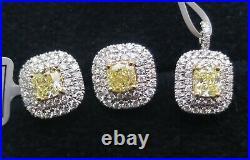 2.5 ct Natural Fancy Yellow Cushion & white round Diamond Earrings & pendant 18k