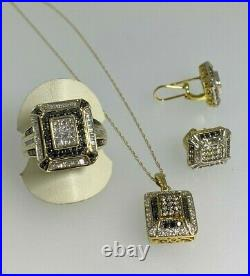 2.50ct White, Champagne, Black Diamond Jewelry Suite Pendant, Earrings, Ring