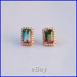 2.75cts Natural Watermelon Tourmaline Withdiamond 0.308cts in 18KRose Gold earring