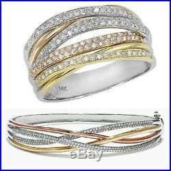 $21000 Effy Trio 14K Tri-Color Gold Diamond Bracelet, Ring, Earrings & Pendant