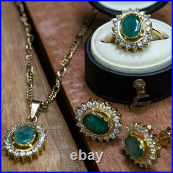 22ct 14.8gr Yellow Gold Emerald Halo Ring, Earrings & Pendant Set #52141