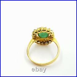 22ct Yellow Gold Emerald Halo Ring, Earrings & Pendant Set #52141