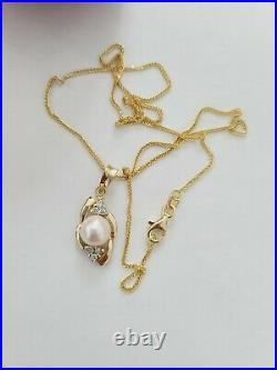 3-Piece Solid 14K Yellow Gold PEARL DIAMOND Ring Earrings Pendant Necklace SET