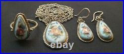 30s Art Deco porcelain enamel floral necklace pendant ring earrings set