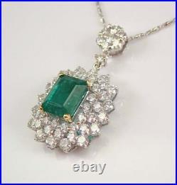 3Ct Emerald Cut Green Emerald Halo Pendant 14K White Gold Finish With Free Chain