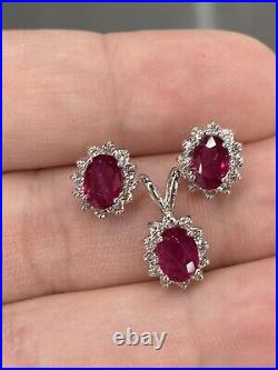 4.5 Ct Vivid Red Ruby & VS Diamond Stud Earring Halo Pendant Set 14K White Gold