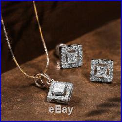 4 Ct Princess Cut Diamond Halo Pendant and Earrings Set 14k White Gold Finish