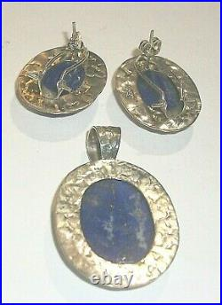 4 Piece Set Of Sterling & Lapis Lazuli Pendant Earrings Ring 35.8g Mexico #3