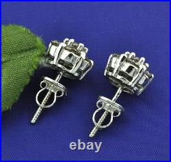 5.40ct 14k Solid White Gold Champagne Diamond Earring Ring Pendant Set Pre owned