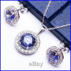 5 CARAT HALO STYLE TANZANITE CZ. 925 Sterling Silver Pendant & Earring Set