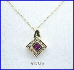 50 ct NATURAL DIAMOND & RUBY halo pendant necklace 14k yellow GOLD