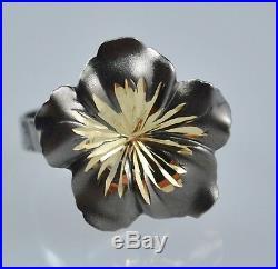 #5924 Beautiful 14K Black Gold Set Flower Pendant, Earrings And Ring