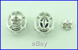 6.45 ct 14k White Gold Natural Blue Sapphire Diamond Ring Earring Pendant Set