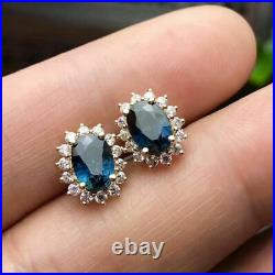6.50Ct Oval Cut Sapphire Diamond Earring's, Pendant & Ring 14k Yellow Gold Over