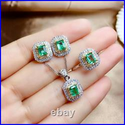 7.00Ct Emerald Cut Emerald Diamond Earring's, Pendant & Ring 14k White Gold Over