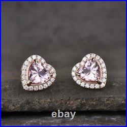 8Ct Heart Peach Morganite Halo Pendant, Ring & Earrings Set 14K Rose Gold Finish