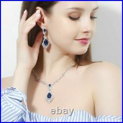 8Ct Pear Blue Sapphire Diamond Halo Pendant & Earrings Set 14K White Gold Finish