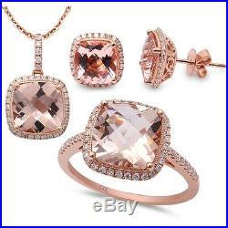 9.24ct F VS Morganite & Diamond 14kt Rose Gold Ring, Pendant & Earring Set
