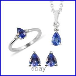 925 Silver AAA Tanzanite Ring Size 9 Stud Earrings Pendant Necklace Set Ct 1.6