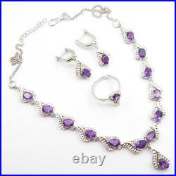 925 Silver AMETHYST Earrings Pendant Necklace Ring 6.75 Top Black Friday Deals