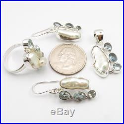 925 Solid Silver BIWA PEARL & BLUE TOPAZ Ring #7 Pendant Earrings SET 18.5 gms