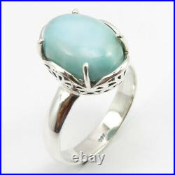 925 Solid Silver Original LARIMAR Ring Size 8, Pendant 2.5 CM, Earrings 3 CM SET