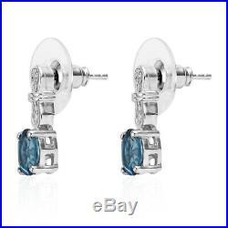 925 Sterling Silver Blue Topaz Bracelet Earrings Ring Pendant Necklace Size 5